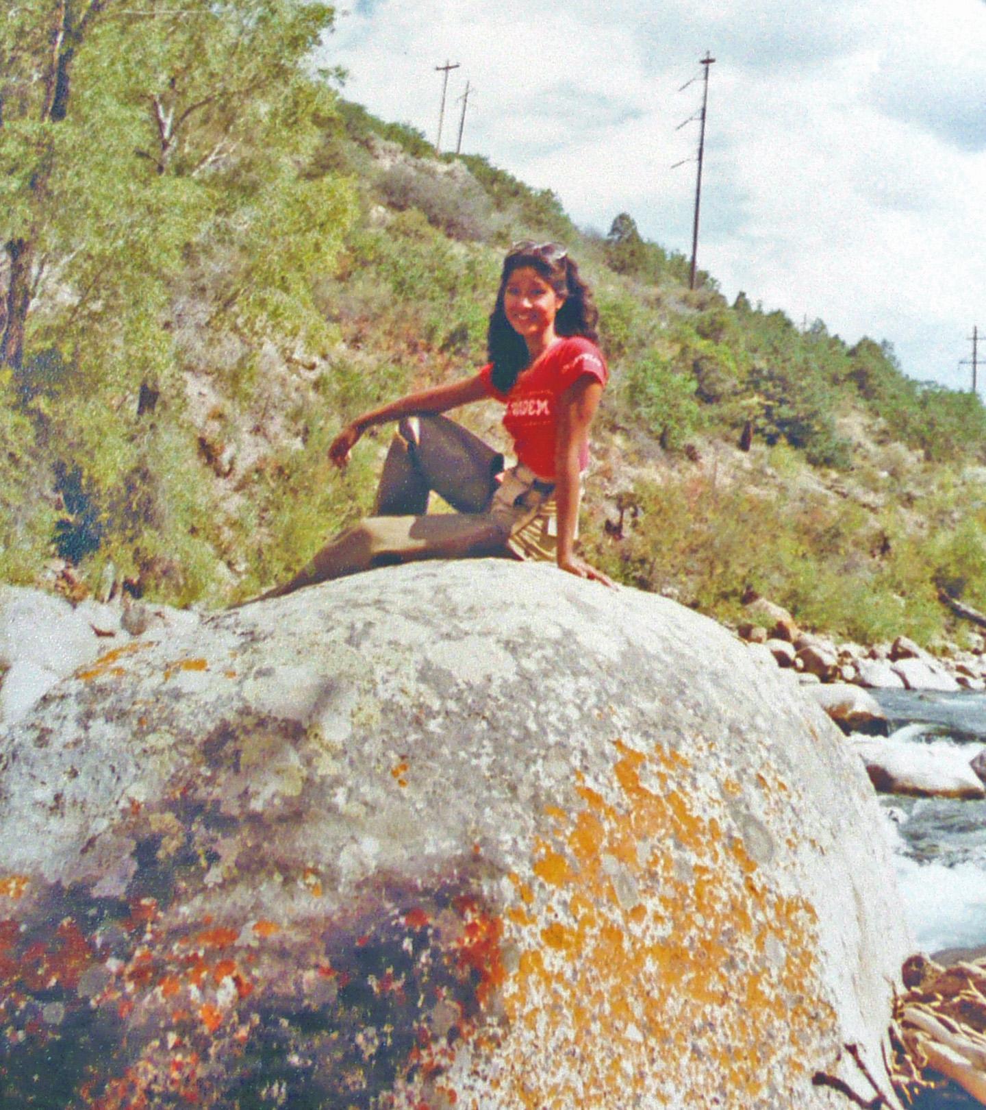 images of Nymphet On A Rock Roaring Fork River Sept 1978