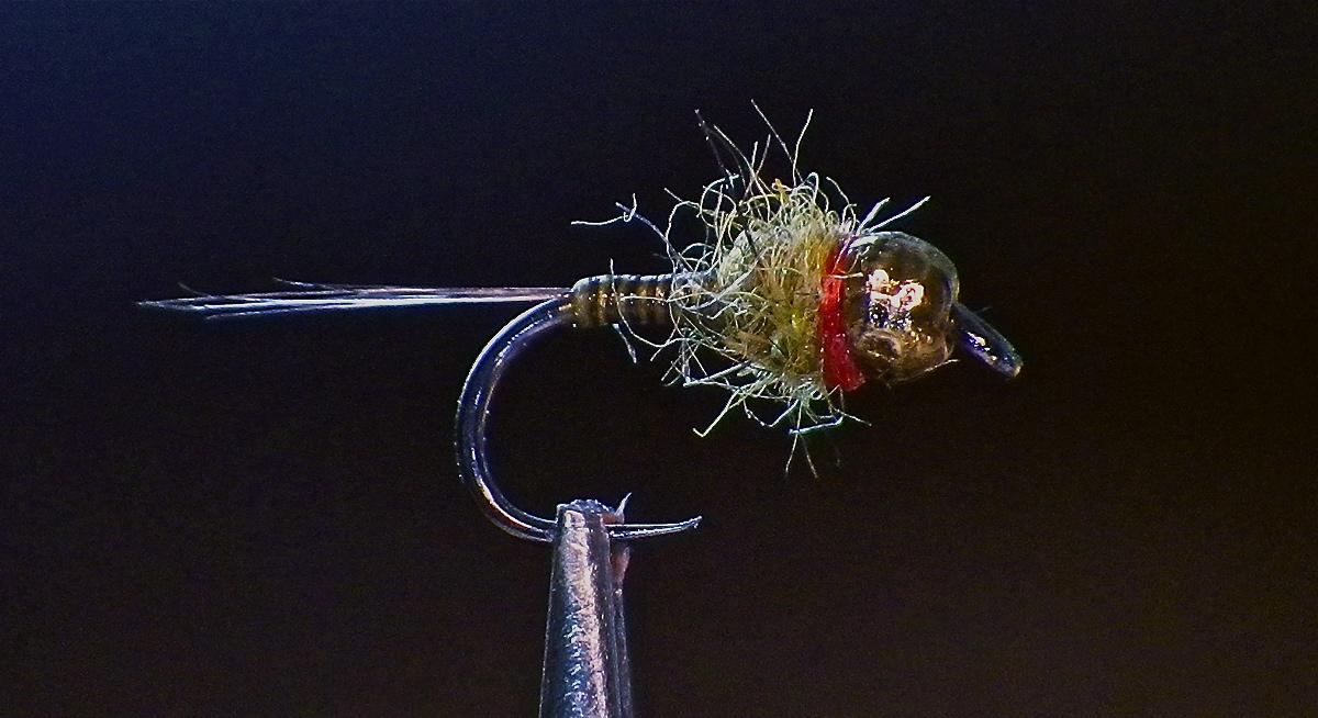 Tungsten Nickel Zebra Midge Nymph Fly with stripped peacock herl ribbing  sz.22